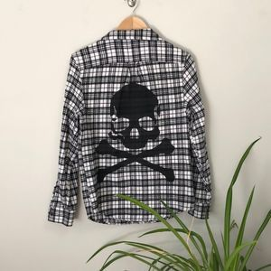SoulCycle Long Sleeve Plaid Skull Flannel